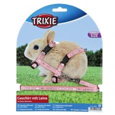 Postroj s vodítkem pro zakrslé králíky - růžový