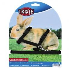 Vodítko a postroj pro králíky - plastové zapínání, černé