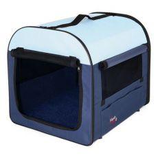 Přenosná taška na psy a kočky - modrobéžová, 47 x 32 x 32 cm
