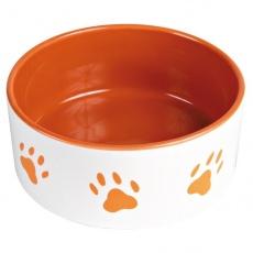 Keramická miska pro psa - oranžová - 1,4 l