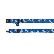 Obojek pro kočky, modrý - lebky - 15–20 cm