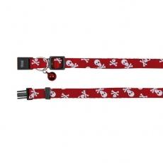 Obojek pro kočky, červený - lebky - 15–20 cm