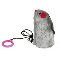 Hračka pro kočku - myš na gumičce, se zvukem, 9 cm