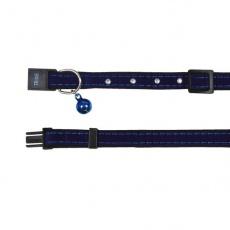 Obojek pro kočku, modrý semiš - 18–30 cm