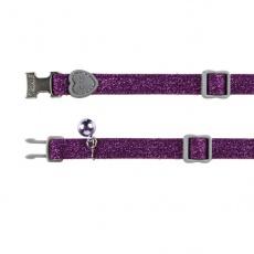Obojek pro kočky, fialové třpytky - 18–30 cm