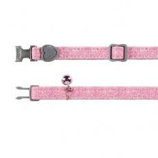 Obojek pro kočky, růžové třpytky- 18–30 cm
