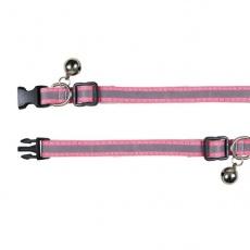 Obojek pro kočky, reflexní růžový - 15–20 cm