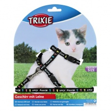 Postroj s vodítkem pro kotě Kitty Cat, černý