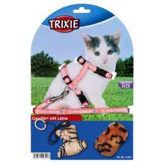Postroj s vodítkem a hračkami pro kočky - růžový