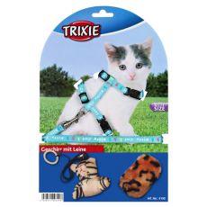 Postroj s vodítkem a hračkami pro kočky - modrý
