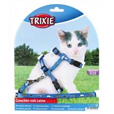 Postroj a vodítko pro koťata s motivem, modrý