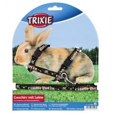 Postroj s vodítkem pro králíky - černý