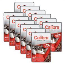 CALIBRA Cat Adult kuřecí a hovězí kousky v omáčce 12 x 100 g