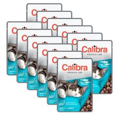 CALIBRA Cat Adult kousky se pstruhem a lososem v omáčce 12 x 100 g
