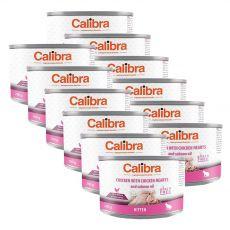 Calibra Cat Kitten GF – Kuře a kuřecí srdce s lososovým olejem, konzerva 12 x 200 g