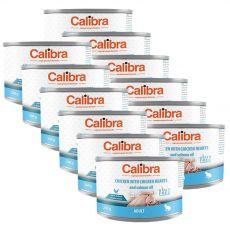 Calibra Cat Adult GF – Kuře a kuřecí srdce s lososovým olejem, konzerva 12 x 200 g