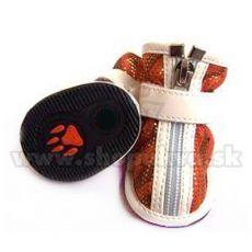 Boty pro psy semišové s glitry - oranžové (4 ks) - vel. 3