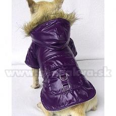 Vetrovka s vreckom a kapuckou na psa - nepremokavá, fialová, XS