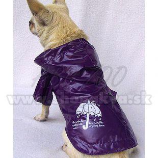 Pláštěnka pro psy - fialová, deštník, XS
