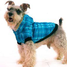 Bunda pro psa - károvaná, modrá, XS