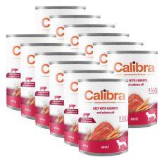 Konzerva Calibra Dog Adult Grain Free - Hovězí a mrkev s lososovým olejem, 12 x 400 g
