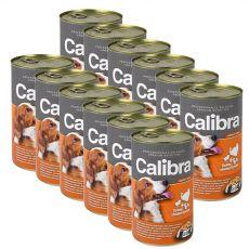 Konzerva Calibra Dog Adult krůta, kuře a těstoviny v želé, 12 x 1240 g