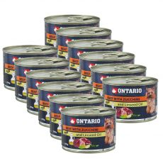 Konzerva ONTARIO Hovězí s cuketou a lněným olejem – 12 x 200 g