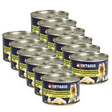 Konzerva ONTARIO Husa s brusinkami a lněným olejem – 12 x 200 g