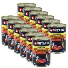 Konzerva ONTARIO pro psa, zvěřina, brusinky a olej - 12 x 400 g