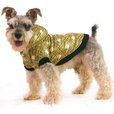 Bunda pro psa - károvaná, žlutá, XS