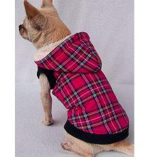 Bundička pre psa s kapucňou károvaná - deeppink - L