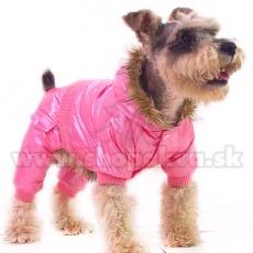 Overal na zimu s kapucňou pre psíka - ružový, M
