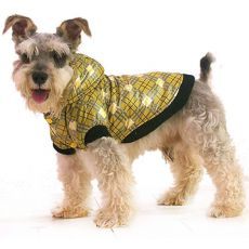 Bunda pro psa - károvaná, žlutá, L