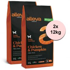 Alleva NATURAL dog chicken & pumpkin puppy maxi 2 x 12 kg