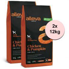 Alleva NATURAL dog chicken & pumpkin adult medium 2 x 12 kg