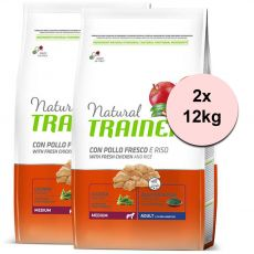 Trainer Natural Adult Medium, kuře a rýže 2 x 12 kg