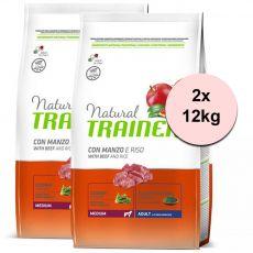Trainer Natural Adult Medium, hovězí a rýže 2 x 12 kg