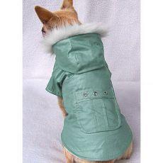 Kabátek pro psy s kapsou - zelený, M
