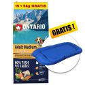 ONTARIO Adult Medium 7 Fish & Rice 15+5kg ZDARMA+ DÁREK