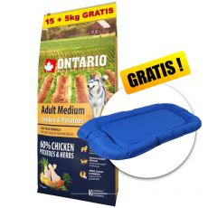 ONTARIO Adult Medium - chicken & potatoes 15+5kg ZDARMA+ DÁREK