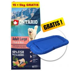 ONTARIO Adult Large 7 Fish & Rice 15+5kg ZDARMA + DÁREK