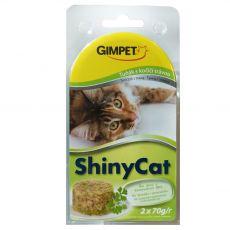 GimCat ShinyCat tuňák + kočičí tráva 2 x 70 g