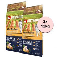 ONTARIO Adult Medium – chicken & potatoes 2 x 12kg