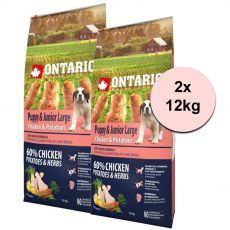 ONTARIO Puppy & Junior Large – chicken & potatoes 2 x 12 kg