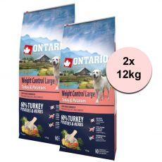 ONTARIO Weight Control Large – turkey & potatoes 2 x 12kg