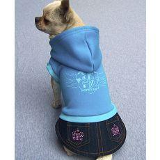 Mikina s riflovou sukýnkou pro psa - modrá, M
