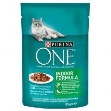 PURINA ONE INDOOR mini filety s tuňákem a zelenými fazolkami ve šťávě 85 g