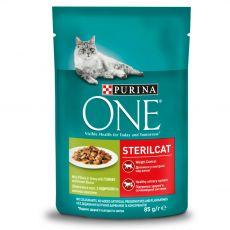 PURINA ONE STERILCAT mini filety skrůtou a zelenými fazolkami ve šťávě 85 g
