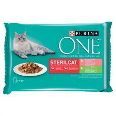 PURINA ONE STERILCAT s krůtou a zelenými fazolkami ve šťávě, s lososem a mrkví ve šťávě, 4 x 85 g