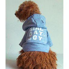 Pulovr s kapucí pro psy - šedý, L